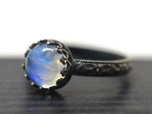 Oxidized Victorian Style Blue Moonstone Ring