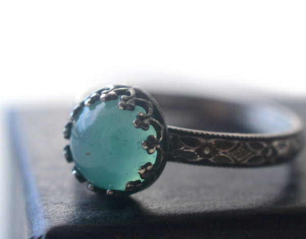 Handmade Oxidized Floral Silver Peruvian Blue Opal Ring