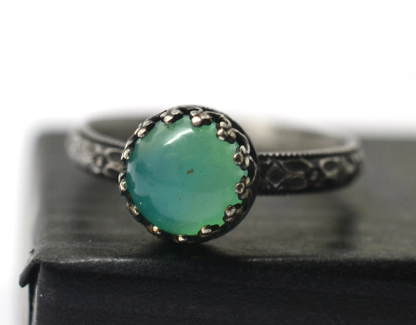 Oxidized Floral Silver Peruvian Blue Opal Engagement Ring