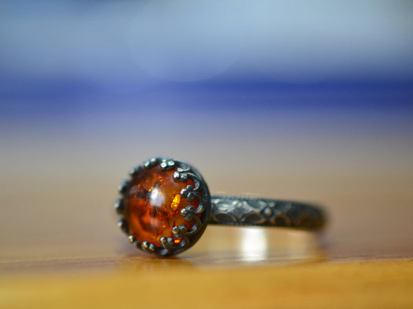 Oxidized Silver Victorian Style Baltic Amber Engagement Ring