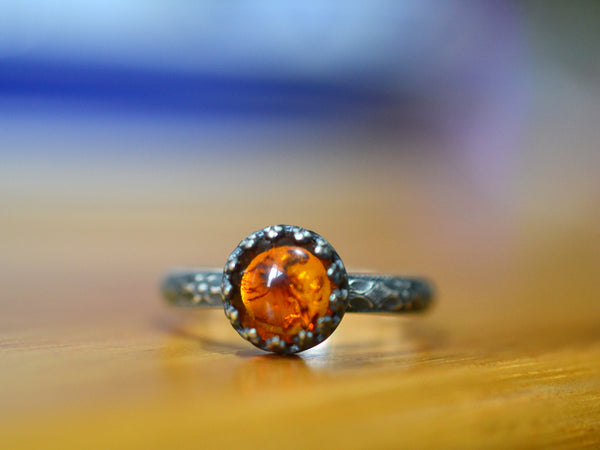Baltic Amber Engagement Ring in Oxidized Sterling Silver