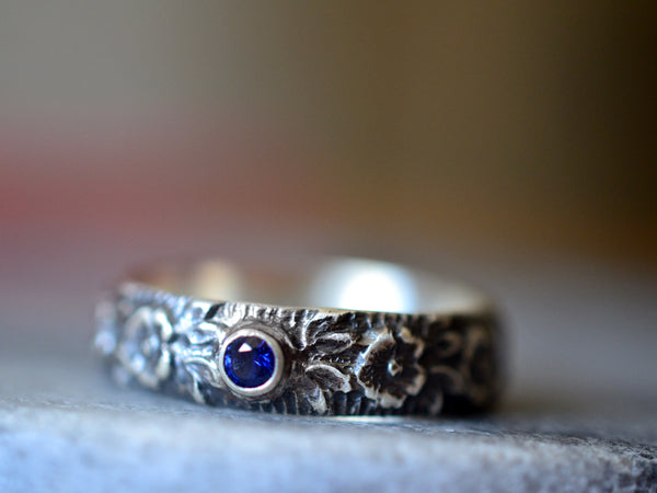 Oxidised Silver Wild Rose Wedding Band With Sapphire
