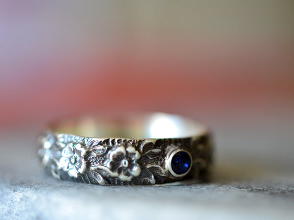 Oxidised Silver Wild Rose Wedding Band With Tiny Blue Sapphire