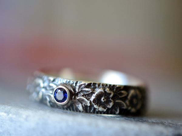 Men's Tiny Sapphire Wedding Band With Wild Rose Design
