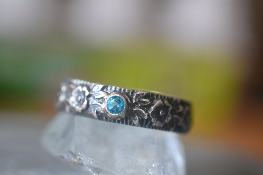 Gothic Rose Wedding Band With Pariba Blue Topaz Crystal