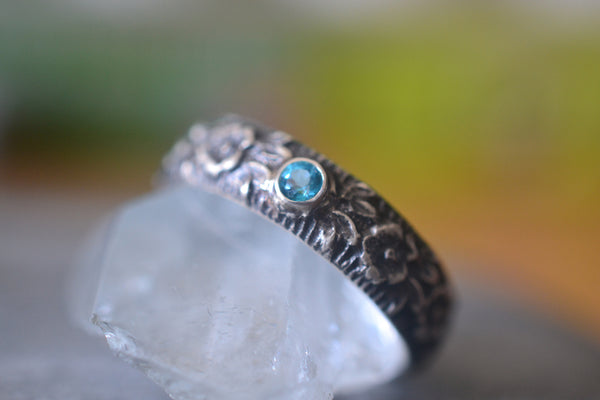 Male Blue Topaz Wedding Band With Gothic Rose Pattern