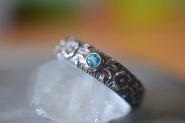 Gothic Silver Rose Wedding Ring With Paraiba Blue Topaz Gem