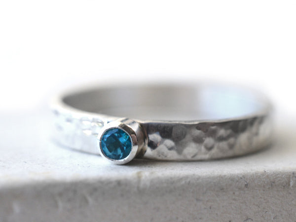 Tiny Paraiba Blue Topaz Engagement Ring in Sterling Silver