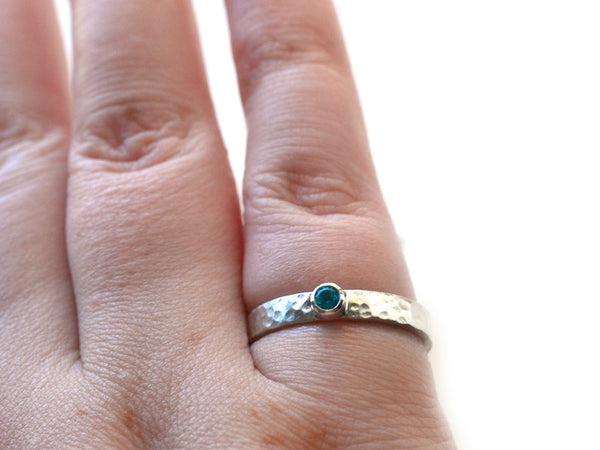Tube Set 3mm Paraiba Blue Topaz Ring in Sterling Silver