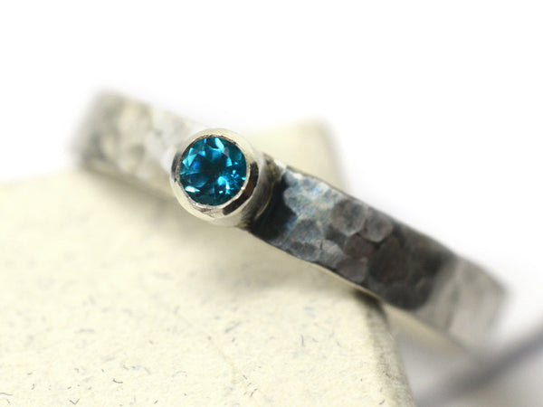 Tiny Paraiba Blue Topaz Promise Ring in Sterling Silver