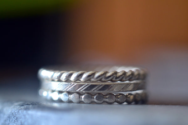 Shiny Dot Stripe and Twist Pattern Sterling Silver Stacking Set