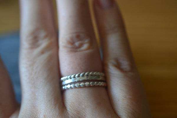 Simple Boho Sterling Silver Stacking Bands With Patterns