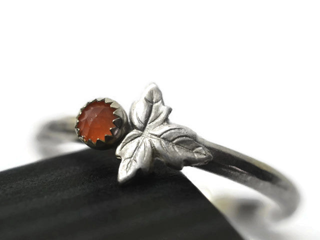 Handmade Natural Peach Moonstone & Sterling Silver Leaf ring