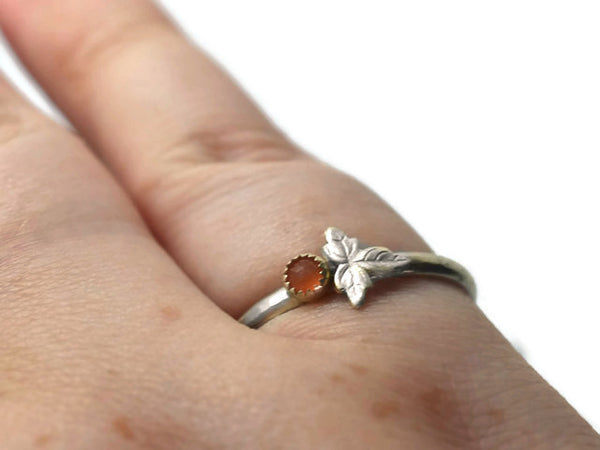 Tiny Peach Moonstone & Silver Leaf Ring