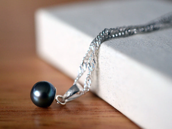 Handmade Sterling Silver & Black Peacock Pearl Necklace