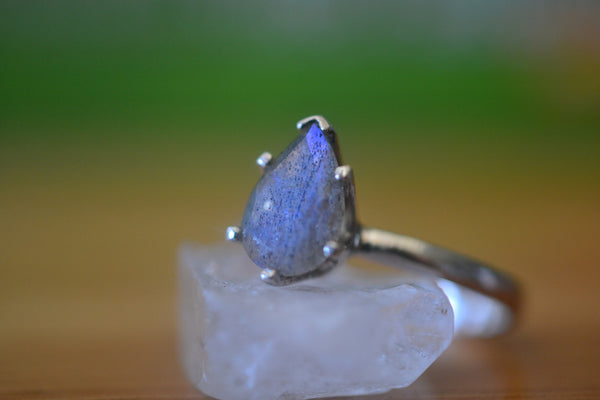 Personalised Pear Shape Labradorite Solitaire Ring