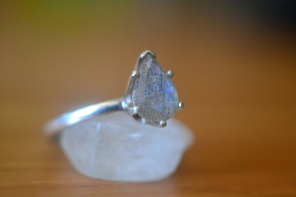Teardrop Labradorite Gemstone Ring in Sterling Silver
