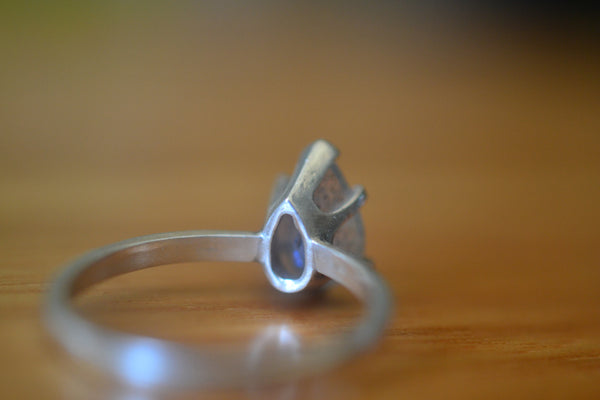 Simple Sterling Silver Ring With Natural Blue Fire Labradorite