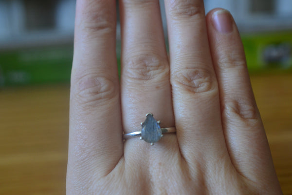 Natural Pear Labradorite Engagement Ring in Sterling Silver