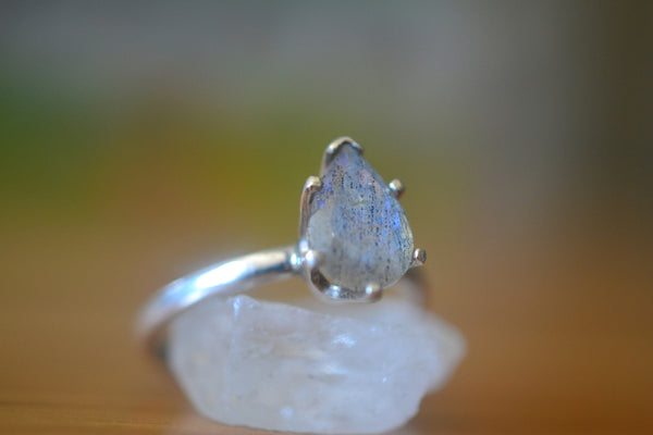 Minimalist Sterling Silver & Tear Labradorite Engagement Ring