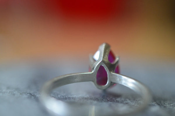 Faceted Pink Ruby Engagement Ring in Sterling Silver Setting