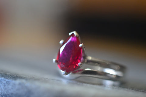 Pear Shaped Ruby Bridal Ring Set in Sterling Silver
