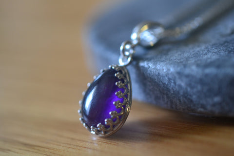 Pear Shaped Amethyst Necklace in Sterling Silver