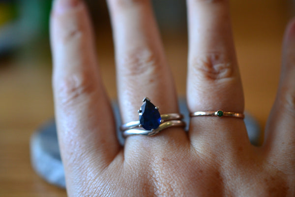 Ladies Minimalist Blue Sapphire Bridal Ring Set in Sterling Silver