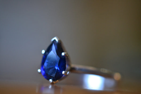Minimalist Sterling Silver Claw Set Blue Sapphire Crystal Ring