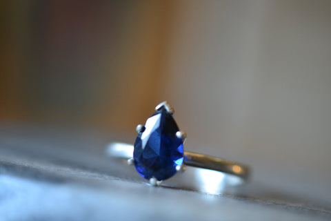 Pear Shape Dark Blue Sapphire Statement Ring in Sterling Silver