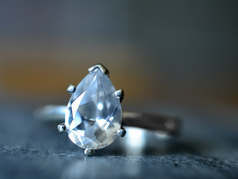 Pear Shape White Sapphire Statement Ring in Sterling Silver
