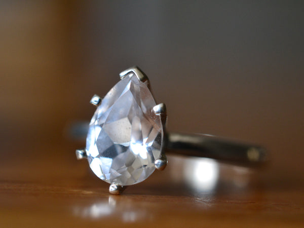 Engravable Teardrop White Sapphire Ring in Sterling Silver