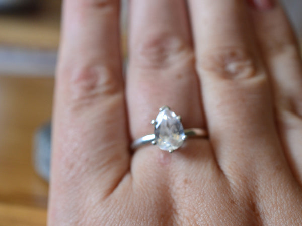 Prong Set Pear Shape White Sapphire Solitaire Ring in Silver