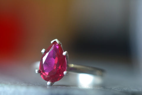 Personalised Ruby Engagement Ring in Sterling Silver