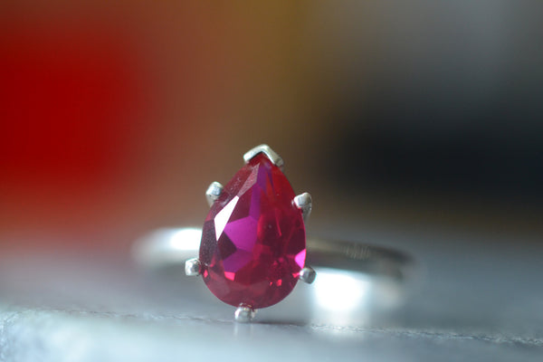Pear Shape Ruby Statement Ring in Sterling Silver