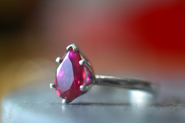 Women's Custom Engraved Ruby Ring in Sterling Silver