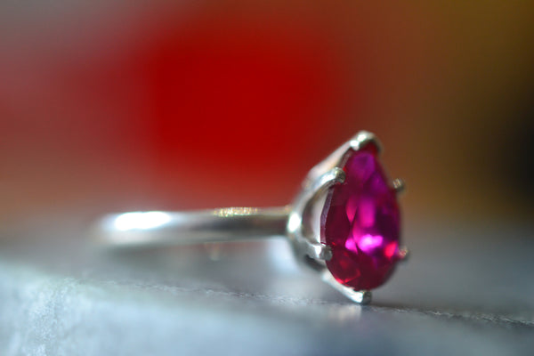 Handmade Pear Ruby Engagement Ring With Engraving