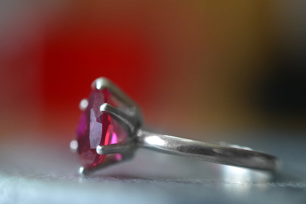 Minimalist Ruby Engagement Ring in Sterling Silver