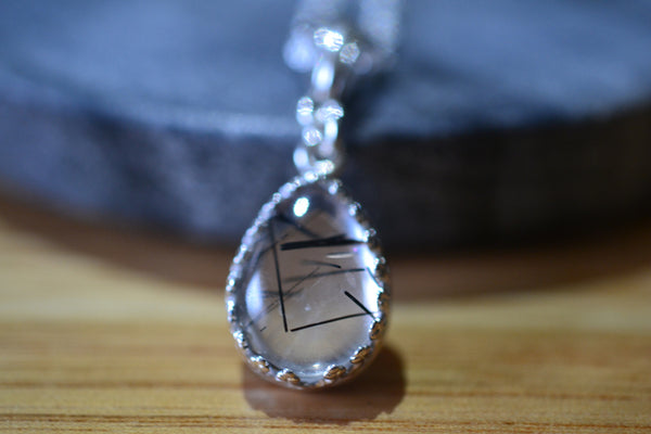 Handmade Tourmalinated Quartz Necklace in Sterling Silver