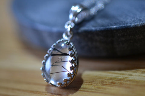Teardrop Tourmalinated Quartz Necklace in Sterling Silver