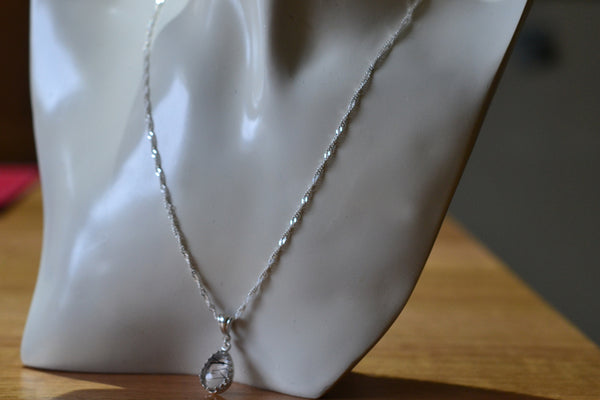 Women's Natural Tourmalinated Quartz Necklace with Silver Chain