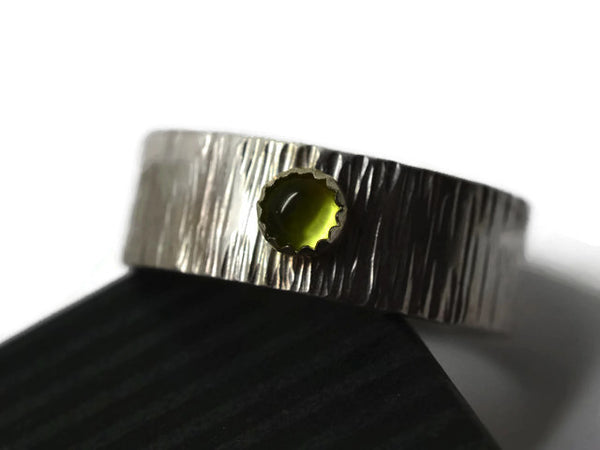 Men's Personalized Silver Wedding Band with 4mm Peridot Gemstone