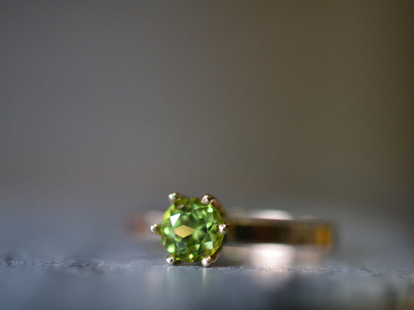 14K Gold Engagement Ring With Natural Green Stone & Engraving