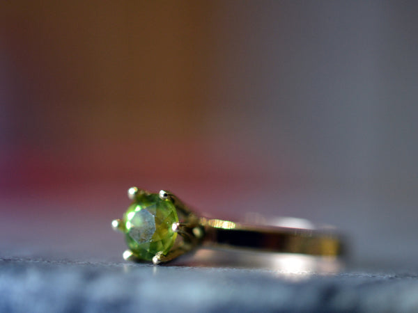 Women's Engravable 14K Yellow Gold Peridot Engagement Ring