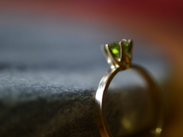 Classic Prong Set Peridot Engagement Ring in 14ct Yellow Gold