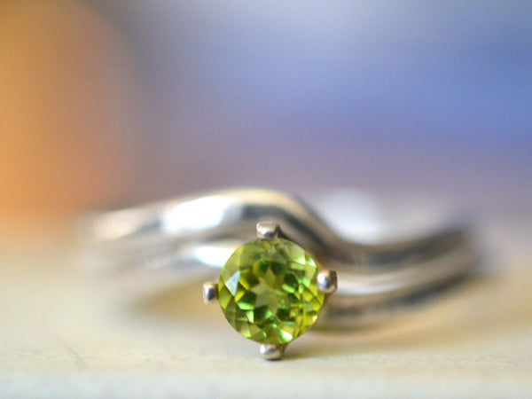 Minimalist Sterling Silver & Peridot Wedding Ring Set