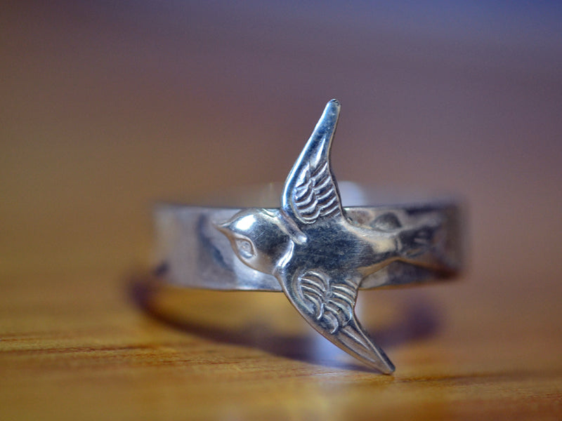 Handmade Sterling Silver Swallow Ring with Wide Band