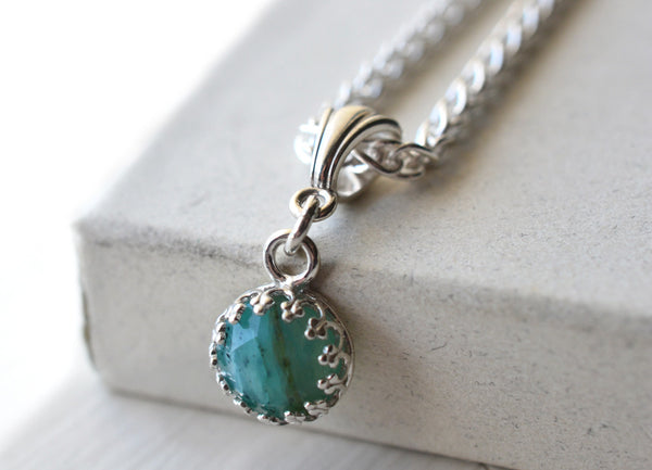 8mm Peruvian Blue Opal Pendant with Silver Chain