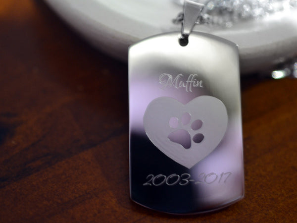 Customised Pet Memorial Dog Tag Necklace in Steel