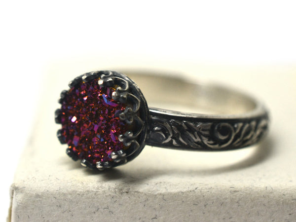 Oxidized Floral Silver Pink Druzy Cocktail Ring